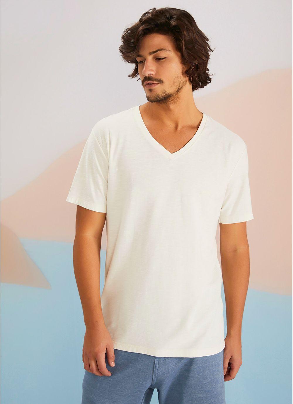 48053b230f T-shirt manga curta flame básica gola v BRANCO - Compre Online na ...