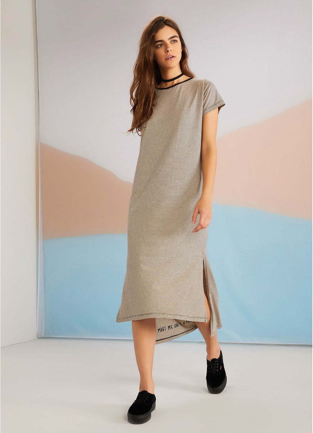 1ab553fc8 Vestido midi listrado silk avesso PRETO - Compre Online na Redley!
