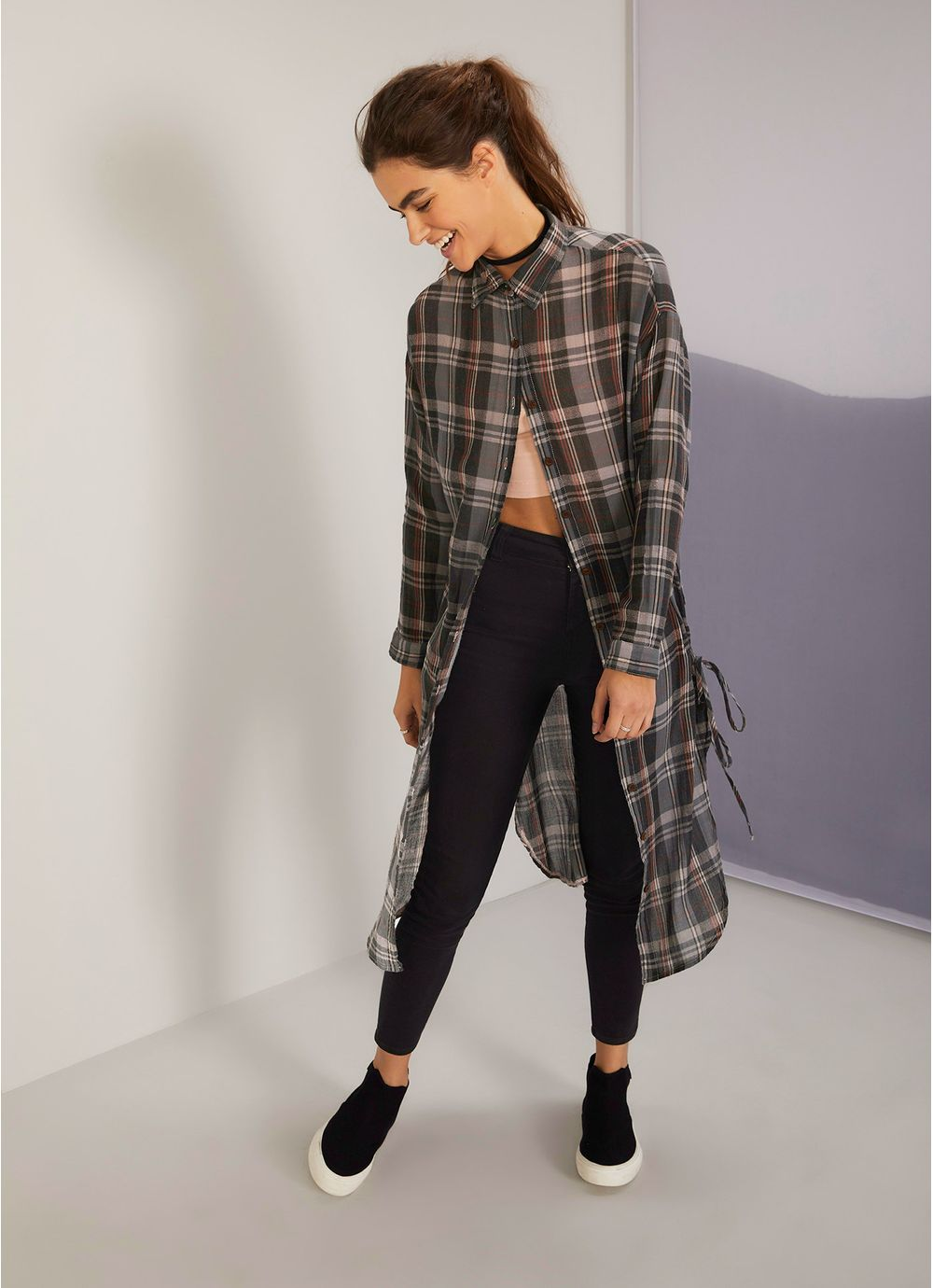 e8209b60d Vestido camisa longo xadrez CINZA - Compre Online na Redley!