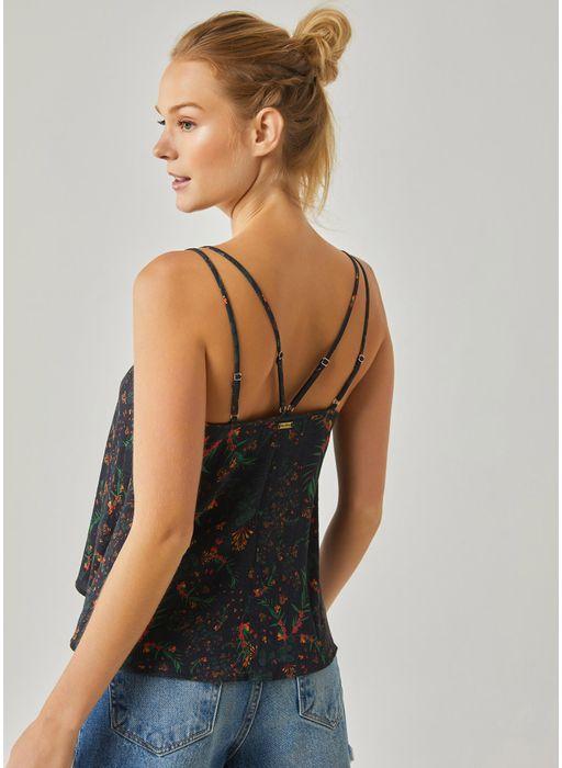 218d9b37be Blusa alcinha estampada liberty PRETO - Compre Online na Redley!