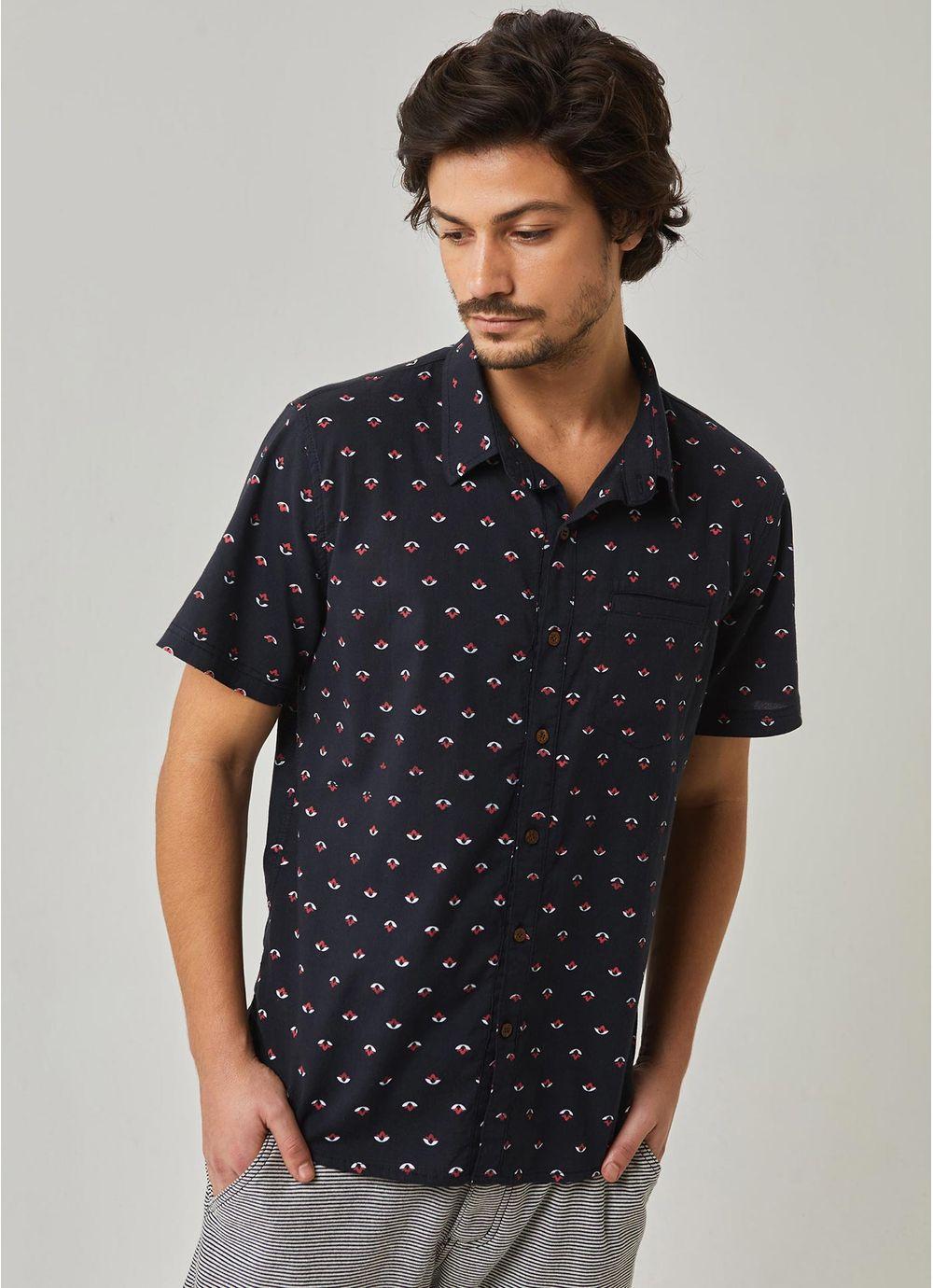 554a53f6569 Camisa manga curta estampada pattern mini icons PRETO - Compre ...