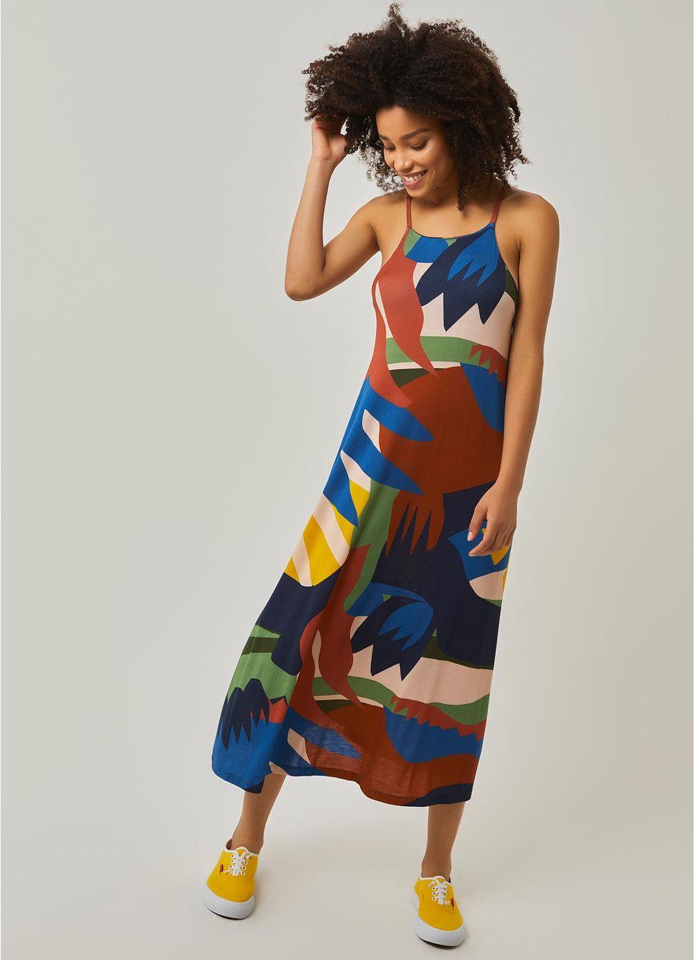 e67d595cda Vestido longo estampado parangole AZUL MARINHO - Compre Online na ...